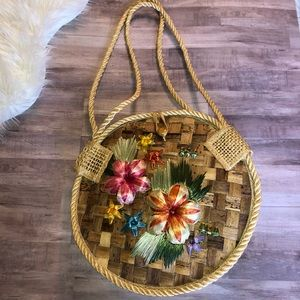 Handbags - Straw Floral Purse with Embroidery Flowers Floral